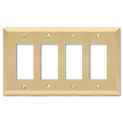 Metallic 4 Gang Rocker Steel Wall Plate - Satin Brass