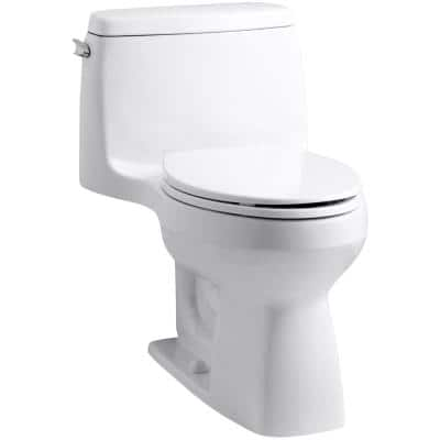 Santa Rosa Comfort Height 1-Piece 1.28 GPF Compact Single Flush Elongated Toilet in White, Seat Included
