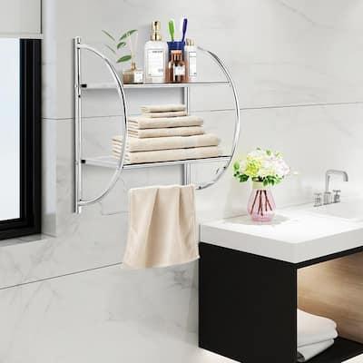 2-Bar Wall Mount Towel Rack in Silver