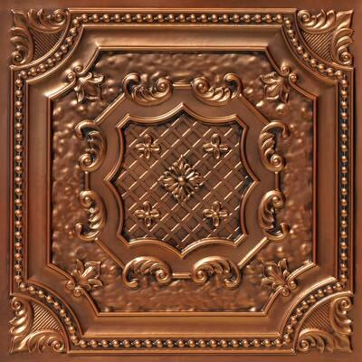 Elizabethan Shield 2 ft. x 2 ft. Glue Up PVC Ceiling Tile in Antique Copper