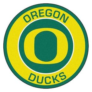 NCAA University of Oregon Gold 2 ft. x 2 ft. Round Area Rug
