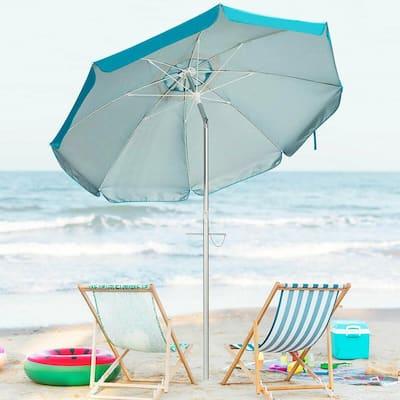 6.5 ft. Aluminum Beach Umbrella Sun Shade Tilt in Blue