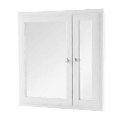 24-1/2 in. W x 25-3/4 in. H Fog Free Framed Recessed or Surface-Mount Bi-View Bathroom Medicine Cabinet in White