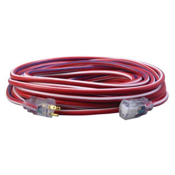 Southwire 75 Ft 12 3 Sjtw Outdoor Heavy Duty Extension Cord With Power Light Plug 65301usa01 The Home Depot