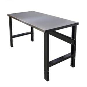 34 in. x 60 in. Heavy-Duty Adjustable Height Workbench with Stainless Steel Top