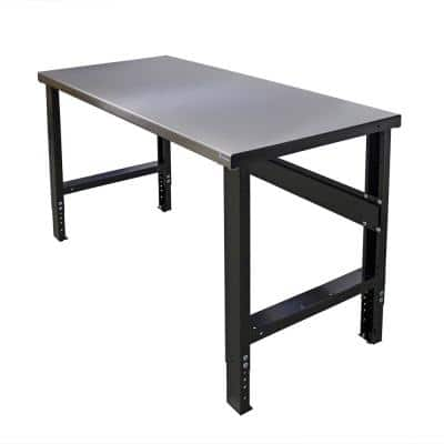 34 in. x 60 in. Heavy-Duty Adjustable Height Workbench with Stainless Steel Top, Commercial Grade, 16-Gauge Steel