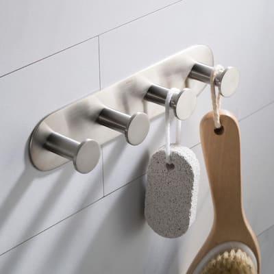 Elie Bathroom Robe and Towel Hook Rack with 4-Hooks in Brushed Nickel