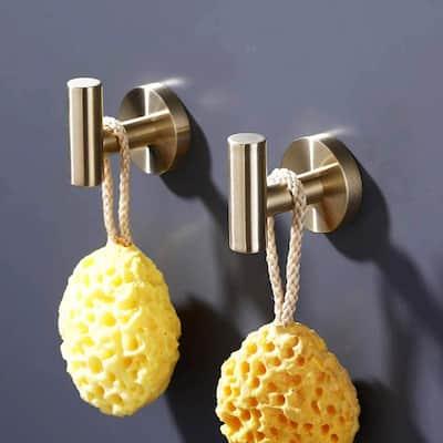 Round Bathroom Robe Hook and Towel Hook in Stainless Steel Golden (2-Pack)