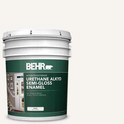 5 gal. #PWN-10 Decorator White Urethane Alkyd Semi-Gloss Enamel Interior/Exterior Paint