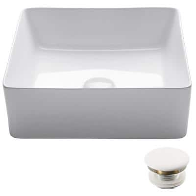Viva 15-5/8 in. Square Porcelain Ceramic Vessel Sink with Pop-Up Drain in White