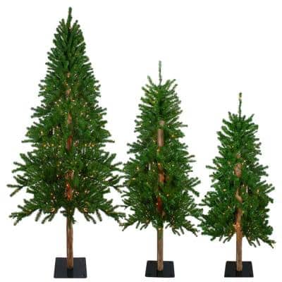 4 ft. 5 ft. and 6 ft. Pre-Lit Alpine Artificial Christmas Trees with Clear Lights (Set of 3)