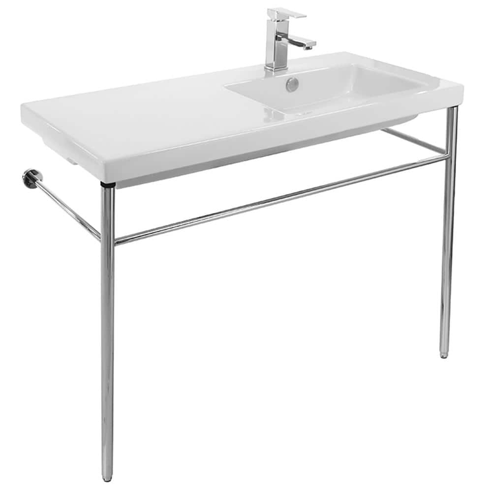 nameeks condal ceramic console bathroom sink with chrome stand tecla co02011 con no hole the home depot