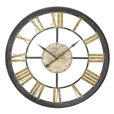 Oversized 46 in. Multistep Metal Frame with Roman Numerals Quartz Wall Clock