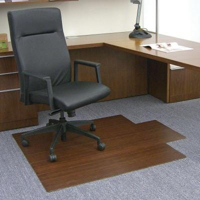 Standard Dark Brown Mahogany 44 in. x 52 in. Bamboo Roll-Up Office Chair Mat with Lip