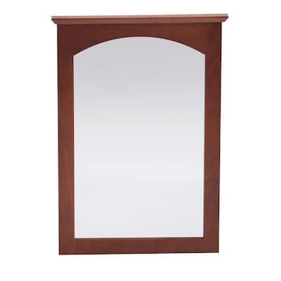 Melborn 22 in. x 31 in. Framed Vanity Mirror in Chestnut