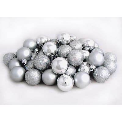 Silver Splendor Shatterproof 4-Finish Christmas Ball Ornaments (60-Count)