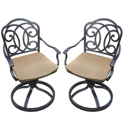 Black and Brown Outdoor Dining Swivel Rockers with Striped Cushions