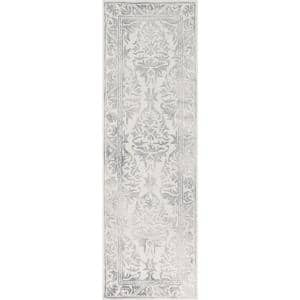 Krause Faded Floral Gray 2 ft. 6 in. x 12 ft. Indoor Runner Rug