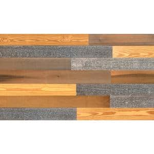 Thermo-treated 1/4 in. x 5 in. x 4 ft. Gray, Gold and Brown Barn Wood Wall Planks (10 Sq. ft. per 6 Pack)