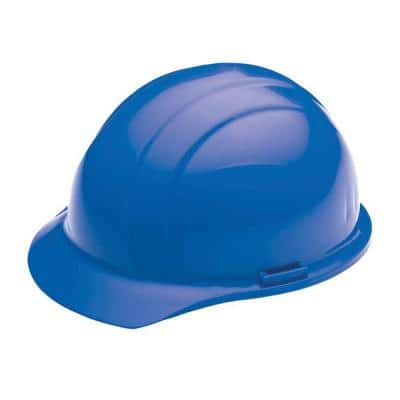 4 Point Plastic Suspension Mega Ratchet Cap Hard Hat in Blue