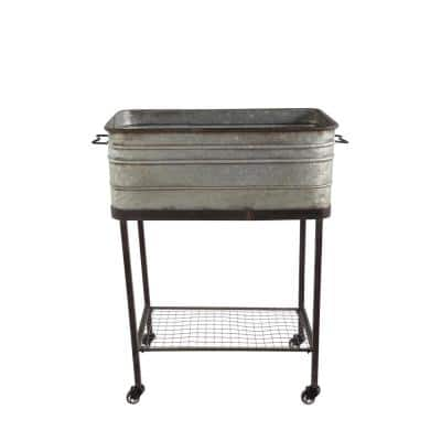 Large Grey Metal Bucket Planter on Stand with Casters