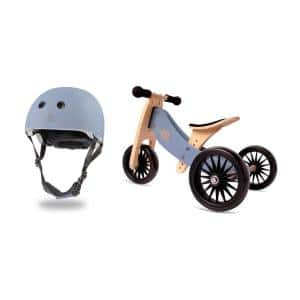 Adjustable Kids Helmet Bundle with Balance Bike Tricycle, Slate Blue