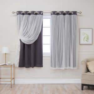 Dark Grey Grommet Overlay Blackout Curtain - 52 in. W x 63 in. L  (Set of 2)