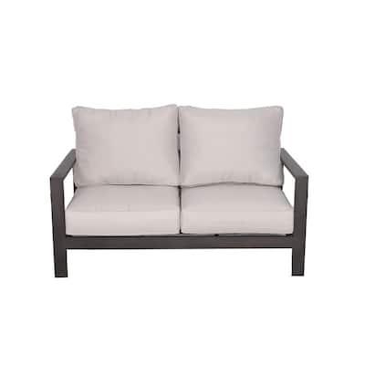 Atlantis Aluminum Outdoor Love Seat with Olefin Beige Cushions