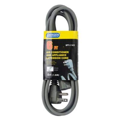 6 ft. 14/3 SPT-3 Wire Air Conditioner/Major Appliance Extension Cord with Right U-Ground Plug, Gray