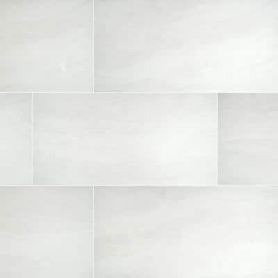 Praia White 12 in. x 24 in. Polished Porcelain Floor and Wall Tile ( 16 sq. ft./Case )