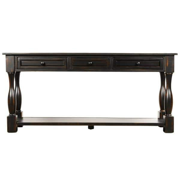 Magic Home 64 2 In L Distressed Black Rectangle Solid Wood Console Table With Drawers And Shelf Cs Wf193795aab The Depot - Solid Oak Console Table With Storage