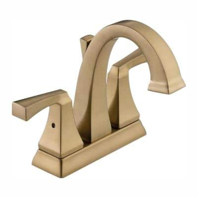 Dryden 4 in. Centerset 2-Handle Bathroom Faucet with Metal Drain Assembly in Champagne Bronze