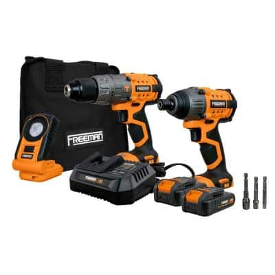 20-Volt Cordless Hammer Drill, 20-Volt Cordless Impact Driver and LED Light Kit with Lithium-Ion Batteries and Charger