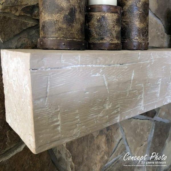 6H x 8D x 72W Ekena Millwork MANUSD06X08X72WH Sandblasted Faux Wood Fireplace Mantel White Washed