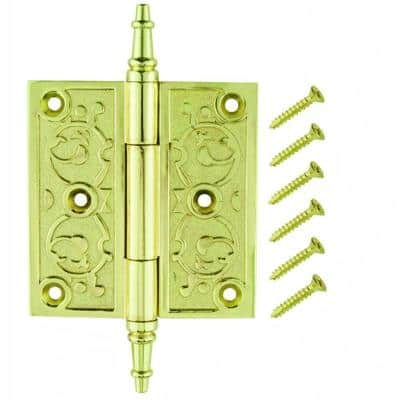 3-1/2 in. Bright Brass Decorative Square Corner Door Hinge with Finial