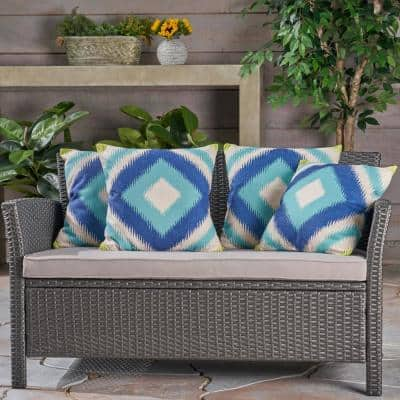 Victoria Blue and Teal Square Outdoor Throw Pillows (Set of 4)