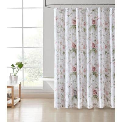 Breezy Floral 1-Piece Pink Cotton 72 in. x 72 in. Shower Curtain