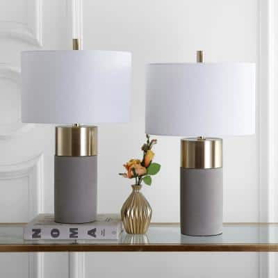 Oliver 24 in. Grey Cylinder Table Lamp with Off-White Shade (Set of 2)
