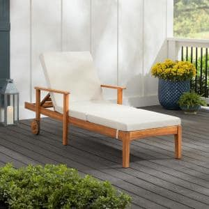 Willow Glen Farmhouse Teak Wood Outdoor Patio Chaise Lounge with Wheels in Teak Finish with Beige Cushion