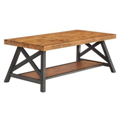 48 in. Oak Large Rectangle Wood Coffee Table with Shelf