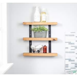 Industrial Grace 5.5in x 20in x 20in Walnut Pine Wood Three-TIer Decorative Wall Shelf with Brackets