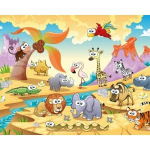 African Cartoon Animals With Volcanoes Wall Mural