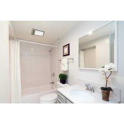 Low Profile 110 CFM Satin Nickel 0.9 Sones Quiet Ceiling Bathroom Ventilation Fan with LED Light/Night Light