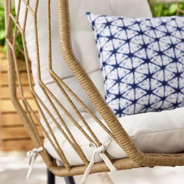 Hampton Bay - Tan Wicker Diamond Shaped Outdoor Patio Egg Lounge Chair Swing with Chalk White Cushions