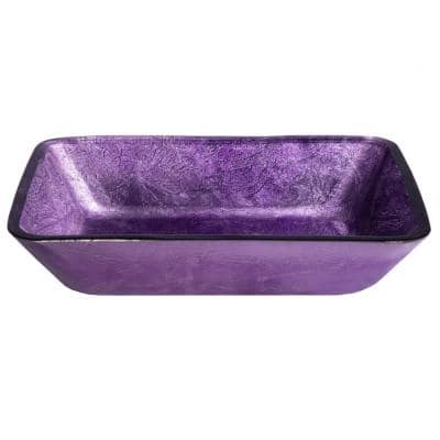 Purple Foil Glass Rectangular Vessel Sink