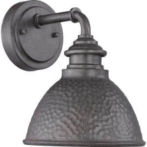 Englewood Collection 1-Light Antique Pewter  Farmhouse Outdoor Small Wall Lantern Light