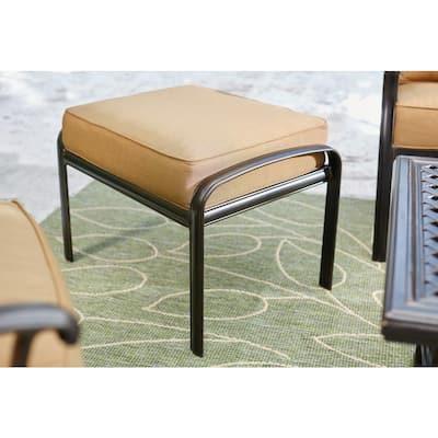 Ridge Falls Dark Brown Aluminum Outdoor Patio Ottoman with Sunbrella Canvas Cork Tan Cushions (2-Pack)