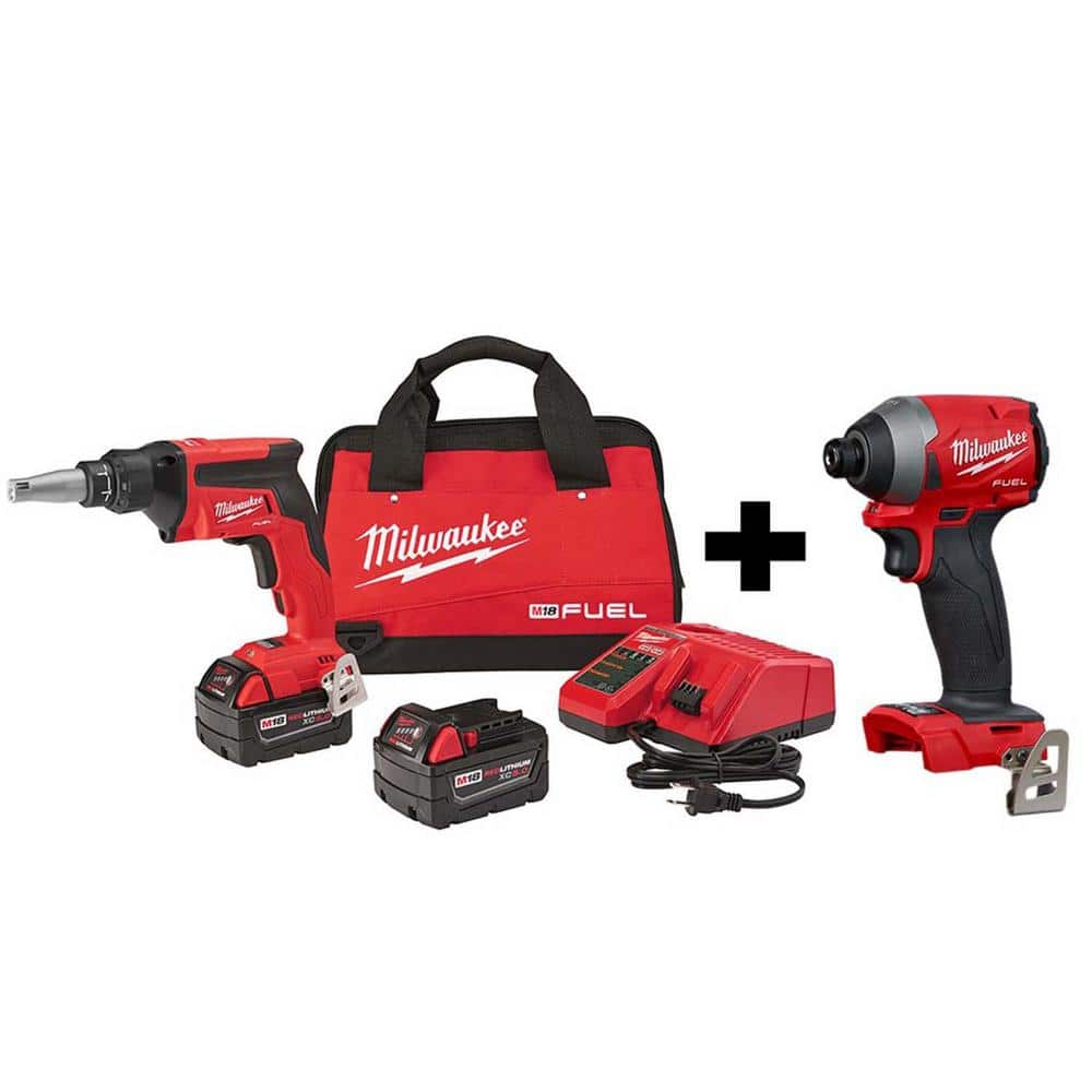 milwaukee m18 fuel 18 volt lithium ion brushless cordless drywall screw gun kit with m18 fuel impact driver 2866 22 2853 20 the home depot