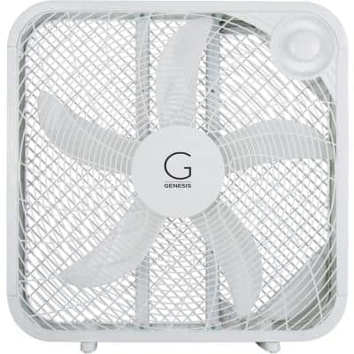20 in. Box Fan 3-Settings Silent Cooling Technology Carry Handle 20 in. White