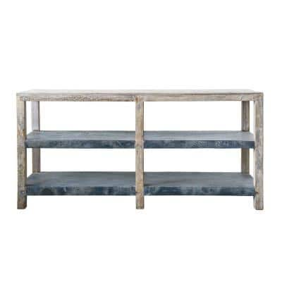 72 in. Gray Standard Rectangle Wood Console Table with 2-Shelves